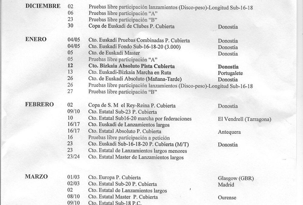 FEDERADOS/AS. PISTA CUBIERTA